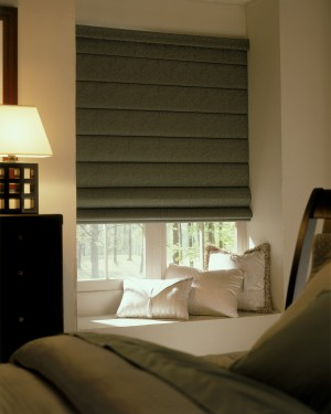 Roman Shades - Flat Fold Close up Bedroom